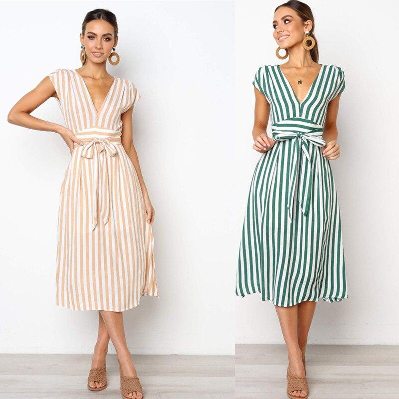 2019 Summer Short Sleeve Striped Dress Drawstring High Waist Elegant Long Party Dress V Neck Vacation Clothes Women