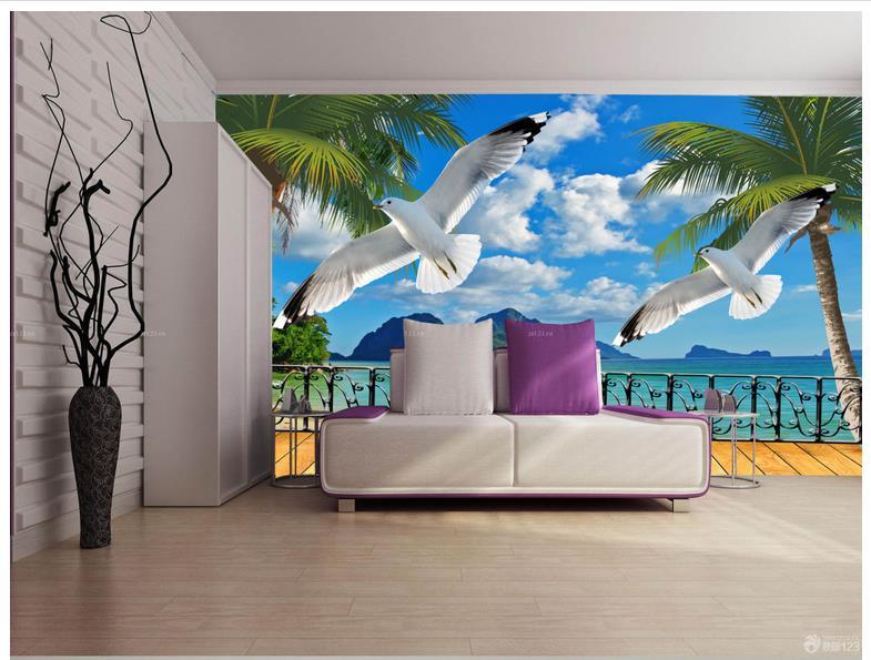 High-end custom 3d photo wallpaper murals wall Summer beach balcony scenery TV wall decoration picture wall decor room decor