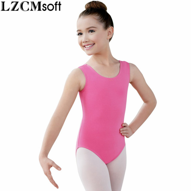 b1d6bf88b LZCMsoft Child Spandex Lycra Sleeveless Leotard Girls Pink Scoop ...