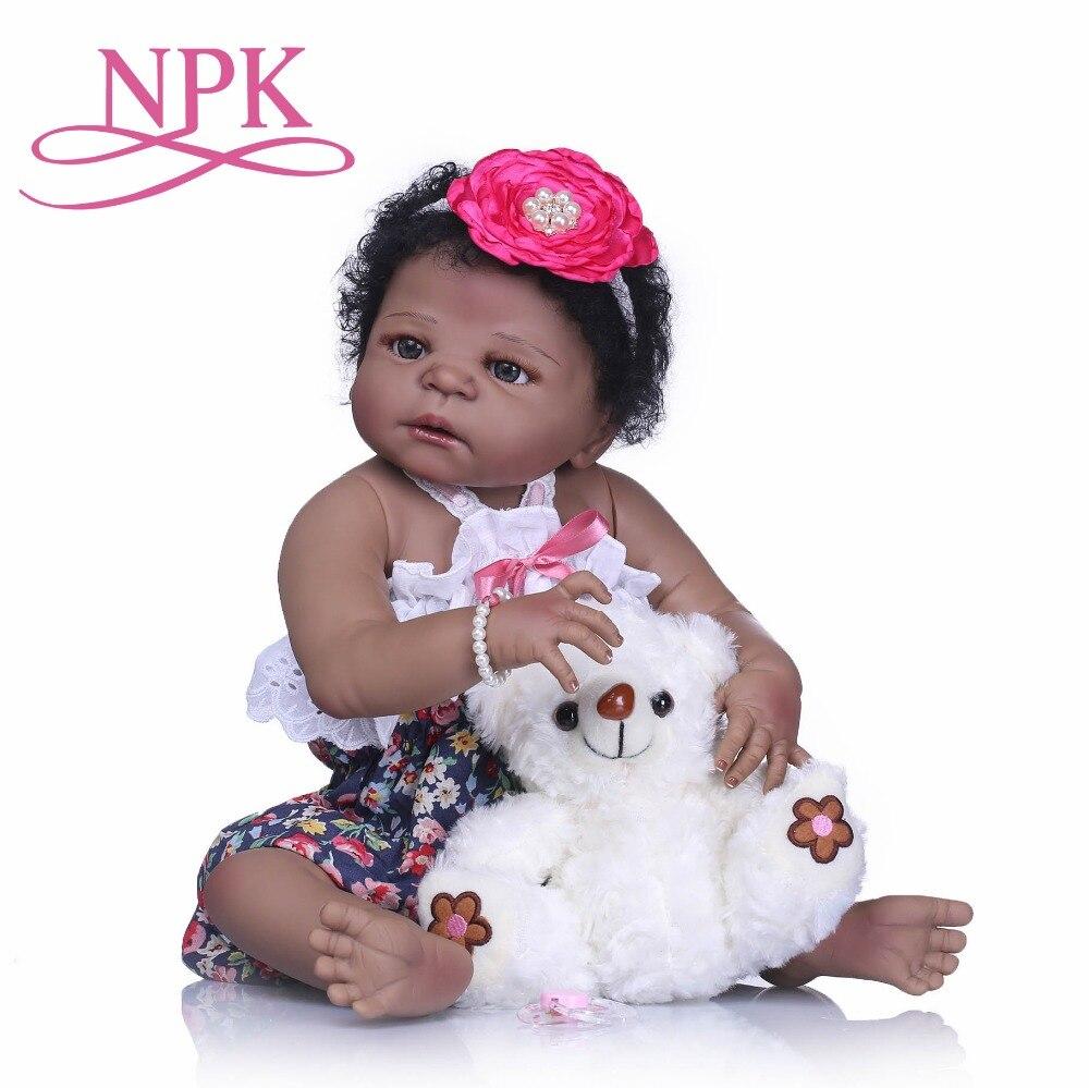 NPK 22 ''reborn bebe bonecas fait à la main réaliste reborn bébé poupées tout le corps vinyle silicone peau noire bébé poupée enfants jouets cadeaux