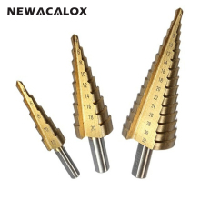 NEWACALOX Cut Tool Large Step Cone HSS Spiral Grooved Step Drill Bit Hole Cutter 4-12/20/32mm 3pcs/Set