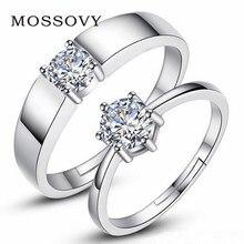 8f94b1a9337b Mossovy Zircon ajustable de pareja de plata anillos de boda para las mujeres  y hombre de diamante de imitación de moda anillo de.