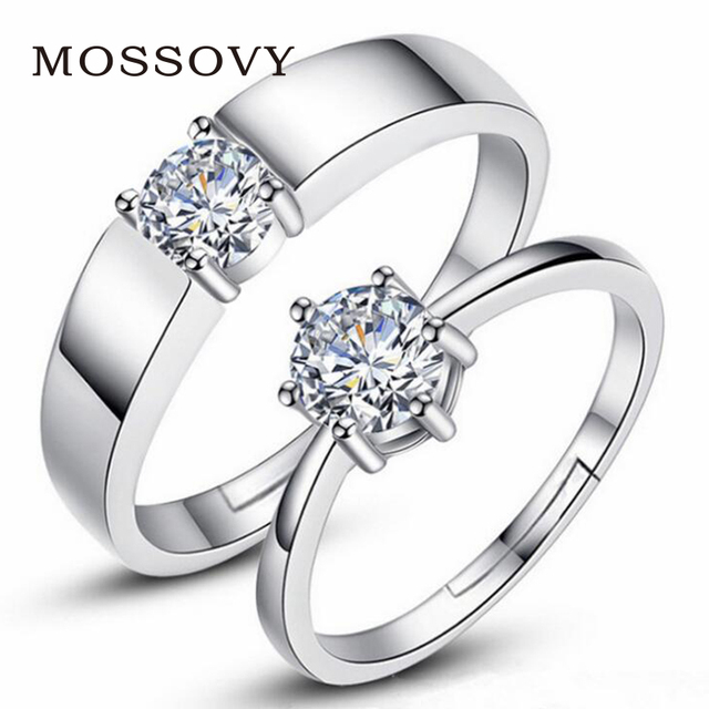 Mossovy Zircon Adjustable Silver Couple Wedding Rings for Women and Male Fashion