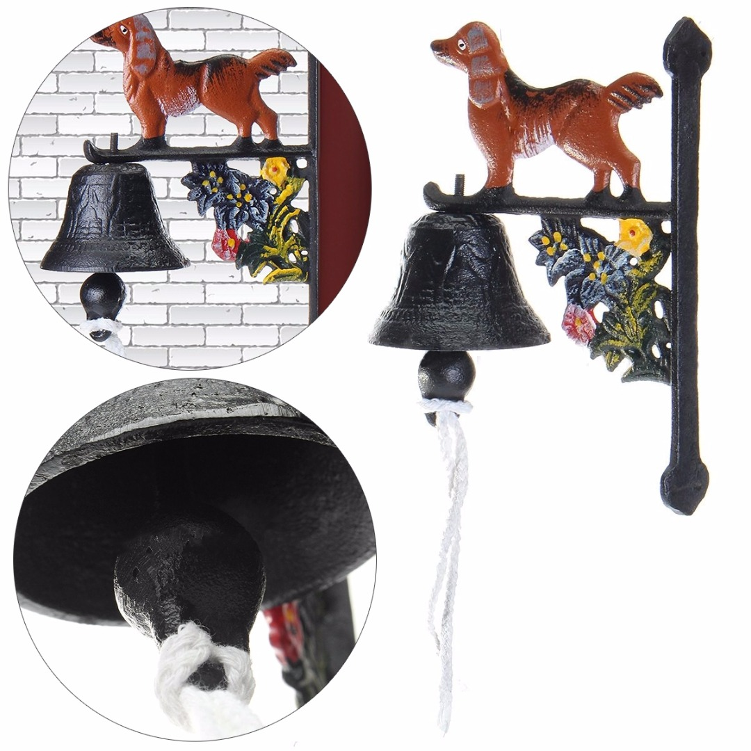 JX-LCLYL Vintage Wall Mounted Rusted Dog Rust Cast Iron Door Home Bell Garden Decor New ...