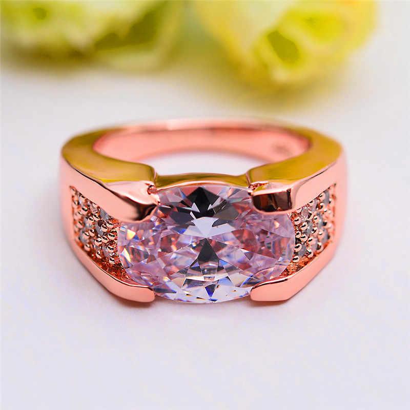 หญิงหรูหราขนาดใหญ่สีขาวงานแต่งงานแหวนแฟชั่นคริสตัล Rose Gold Zircon แหวนหินสัญญารักหมั้นแหวน