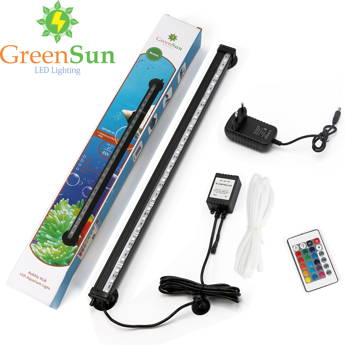 EU/US/AU/UK Plug 32CM 5050 RGB LED Aquarium Light Bar Fish Tank Submersible Tube Air Bubble Lamp With Remote (Without air pump)