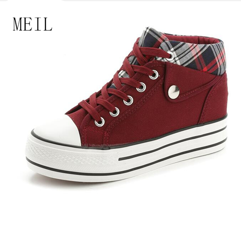 c77724cd9add5 Height Increasd 6CM Women Breathable Canvas Wedge Platform Sneakers Hidden  Heel Fashion Comfortable Lace Up Girls Casual Shoes