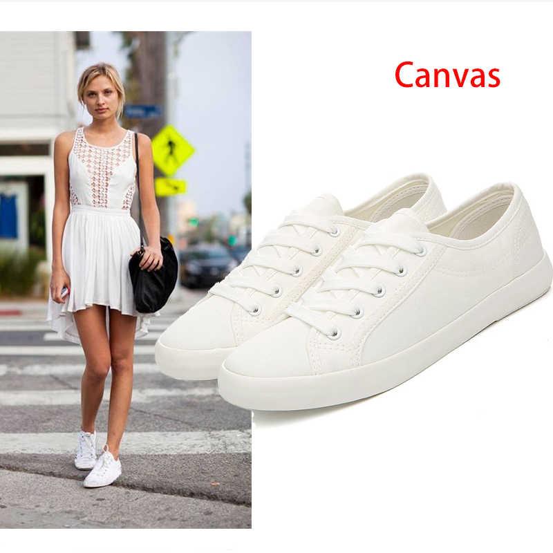 קלאסי לבן סניקרס נשים בד מזדמן נעלי נשי קיץ שרוכים שטוח מאמני אופנה Zapatillas Mujer לגפר נעלי