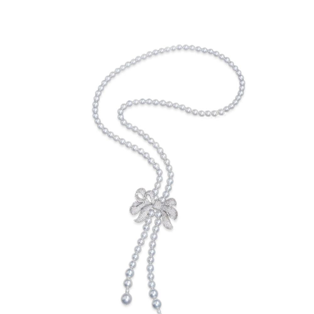 Jade Angel Women White 8mm Simulated Shell Pearl Starnds Tassel Necklace with Cubic Zirconia Bow Charm Fashion Woman NecklaceJade Angel Women White 8mm Simulated Shell Pearl Starnds Tassel Necklace with Cubic Zirconia Bow Charm Fashion Woman Necklace