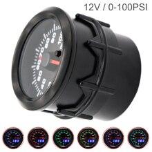52MM 2Inch Dual Display 12V 0~100 PSI Universal Car Oil Pressure Meter 7 Color Backlight