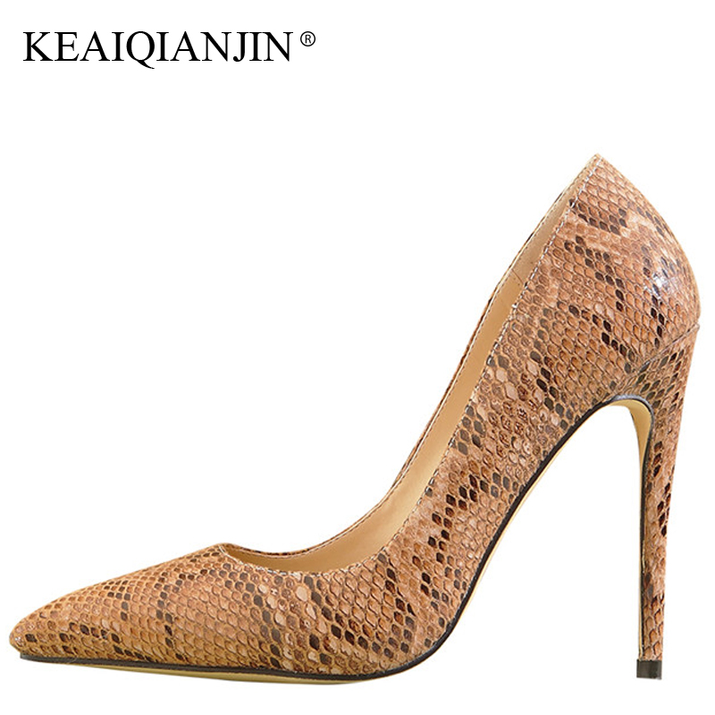 KEAIQIANJIN Woman Snakeskin Patte Pumps Black Brown Plus Size 33 - 43 High Shoes Spring Autumn Fashion Sexy Pointed Toe Pumps keaiqianjin woman patent leather pumps plus size 33 43 high shoes spring autumn metal decoration black genuine leather pumps