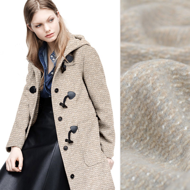 150CM Wide 760G/M Weight Beige Knitted Wool Polyester Fabric for Winter Jacket Overcoat Dress J125