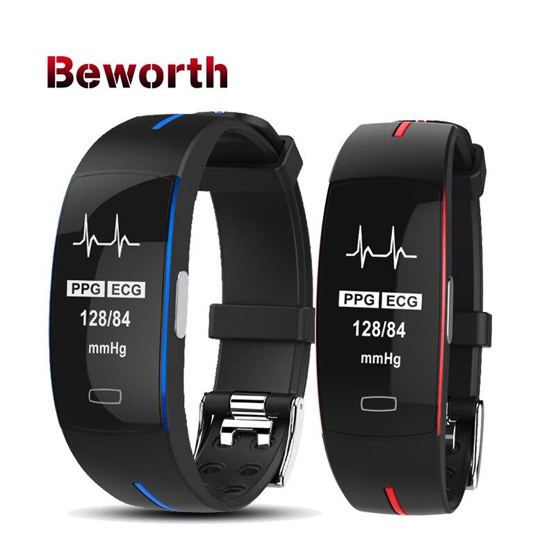 P3 bande intelligente ECG + PPG tension artérielle moniteur de fréquence cardiaque Bracelet IP67 poof podomètre sport montre Fitness Tracker Bracelet
