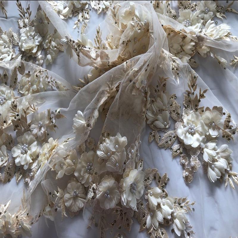 SASKIA 1Yard High Quality Mesh Emboirdery Fabrics Handmade Bead Material Sewing For Evening Dress African Lace