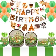 Baby Shower Woodland Party Decorations Carton Jungle Safari Animal Cake Border Disposable Tableware Sets Birthday Party Supplies