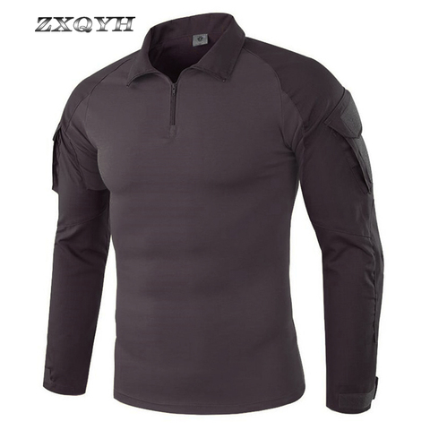 ZXQYH Men Combat Training Long Sleeve Tactical T-Shirts Army Camping Breathable T-shirts Military Tactical Uniform Tops T-shirts Islamabad