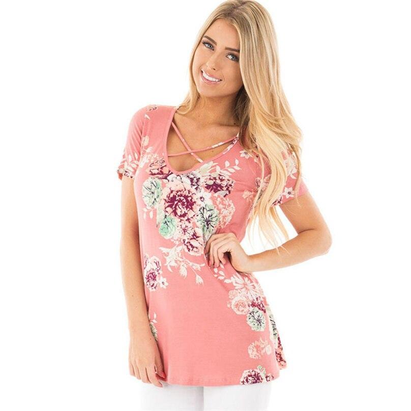 Summer T-Shirt For Women 2018 Crisscross Front V Neck Tee Shirt Female Flower Printed Women Tops Feminina T shirt 8 Colors 5XL