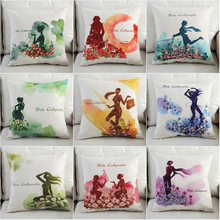 Nordic Simplicity Beautiful Girl Cushion Cover Cotton Linen Stay Calligrapy Home Decorative Pillow for Sofa Car Cojines