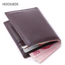 Leather Wallet Men Card Mens Genuine Slim HOOJUEDS