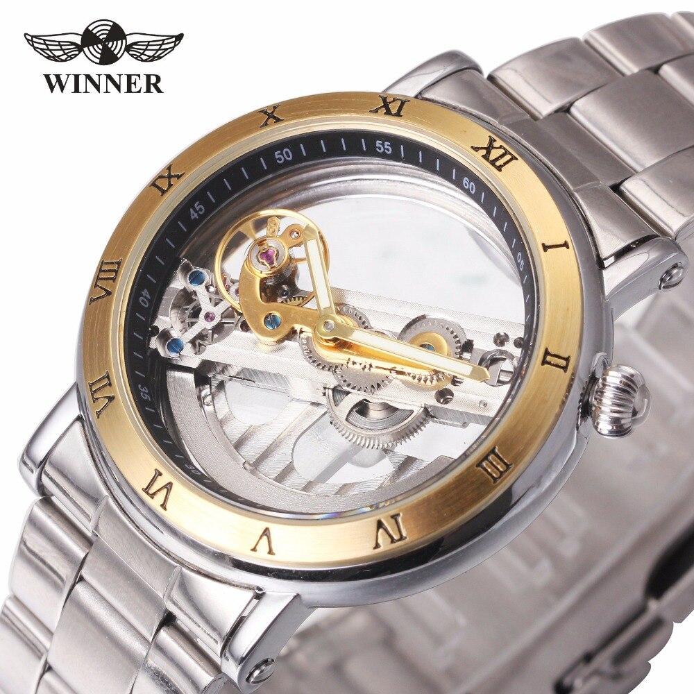 WINNER Men Mechanical Watch Skeleton Dial Watches Luxury Golden Bridge Full Steel Minimum Design Male Business Wristwatch