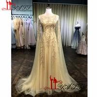 2019 Hot Selling Golden Crystal Beading Jewel Neckline Sweetheart Arabic Style Evening Prom Dresses robe de soiree Dress Party