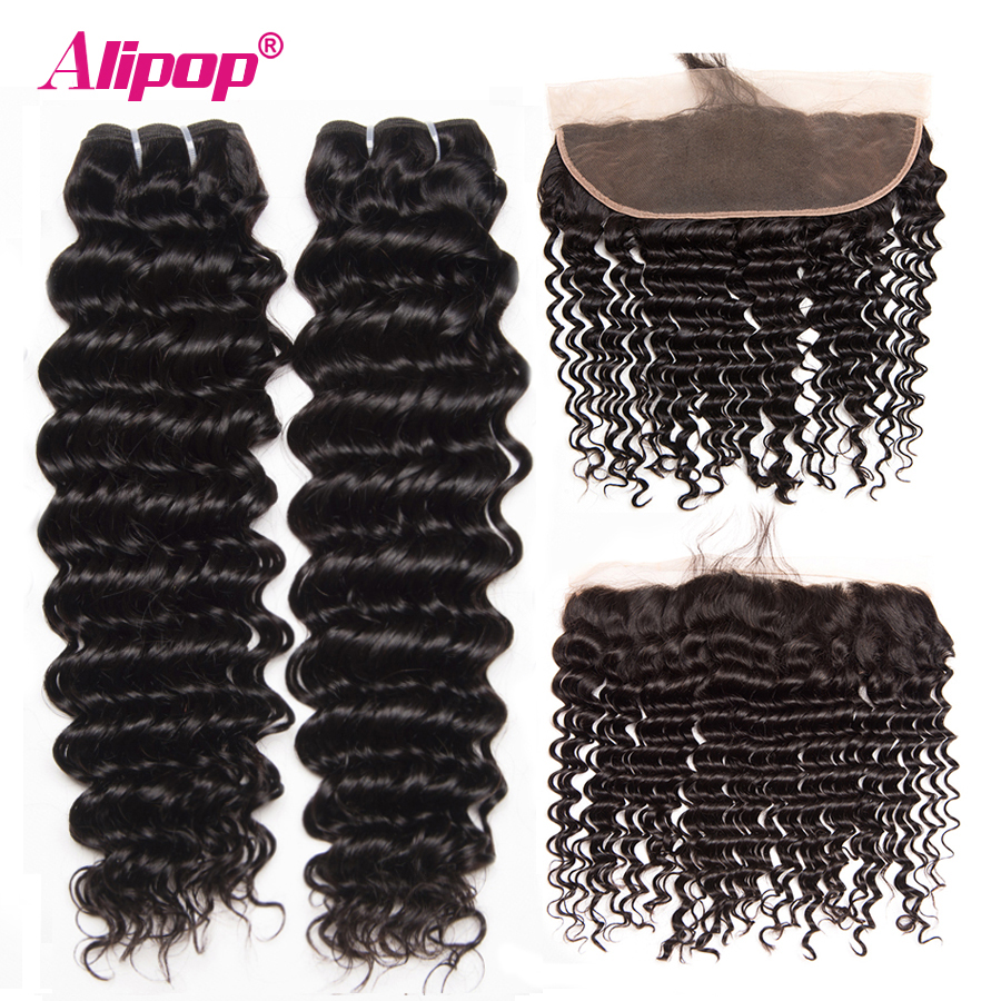 Deep Wave Human Hair 2 Bundles With 4*13 Frontal Brazilian Hair Weave Bundles With Closure ALIPOP Frontal Closure NonRemy 4PCS