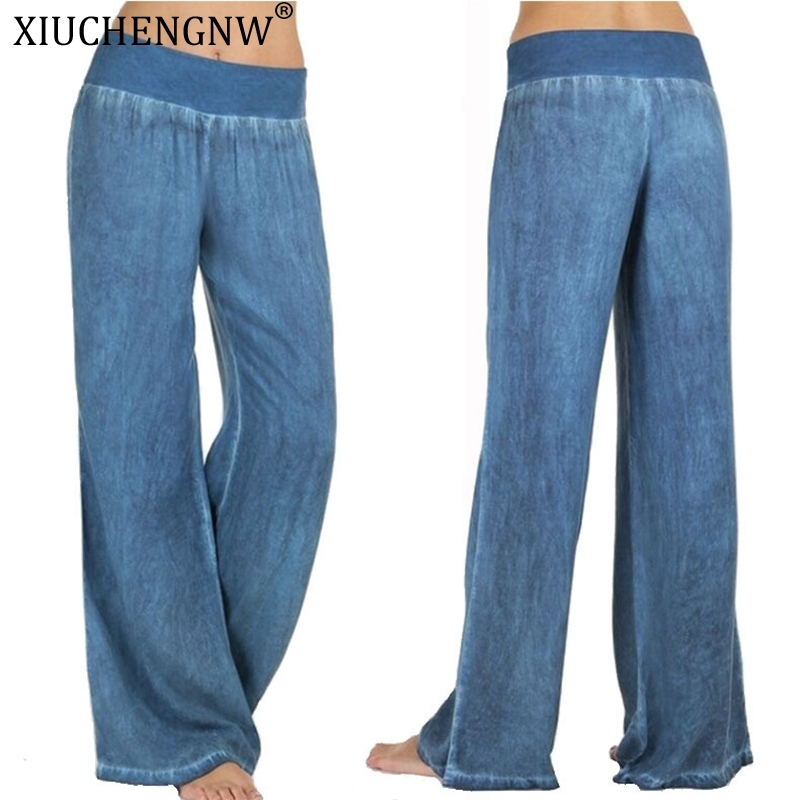 Fashion Denim Flare Pants Women Retro Jeans Wide Leg Trousers Lady Casual For Girls Light Blue Trousers Women Jeans Large Size
