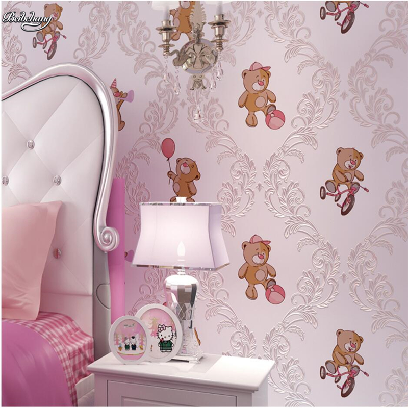 beibehang Cartoon children's room bear bear non-woven wallpaper 3d 3d boy girl bedroom background wall bronzing wallpaper beibehang wallpaper high grade environmental protection non woven wallpaper girl boy room room striped wall paper car children