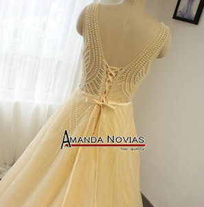 Image 5 - Sexy Transparent Bodice Pearls Wedding Dress Champagne Color