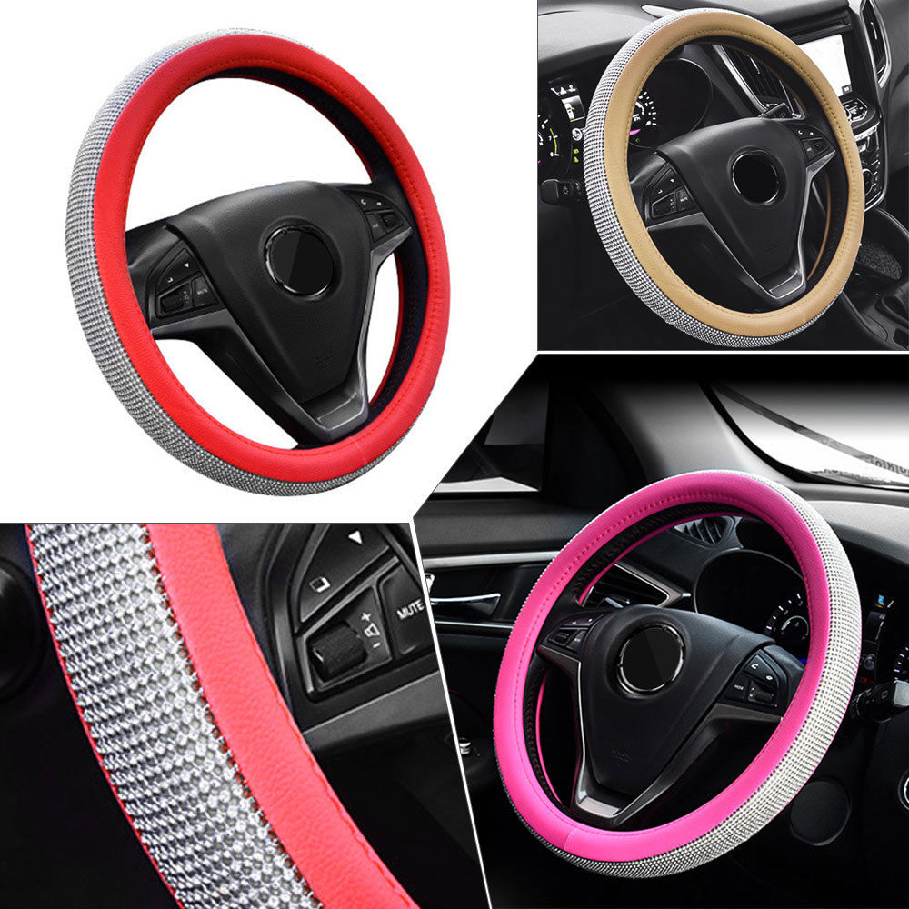 fly5d 38 cm luxury crystal diamond car steering wheel cover pufly5d faux leather car sport steering wheel cover 38cm paillette durable auto steering covers automobile decoration universal usd 16 99 piece