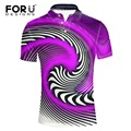 FORUDESIGNS 3D Paisley Purple Black White Polo Shirt Men Brand Famous Short-Sleeve Casual Polos Hombre Men's Slim Fit Shirt