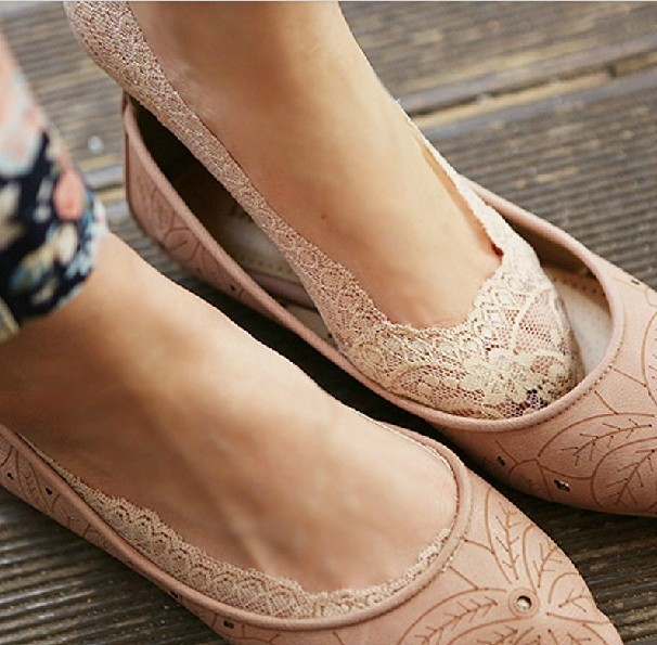 Free Shipping 10pcs=5 pairs/lot  Bamboo fiber Women's lace invisible Socks antiskid high quality summer slipper woman lady sox