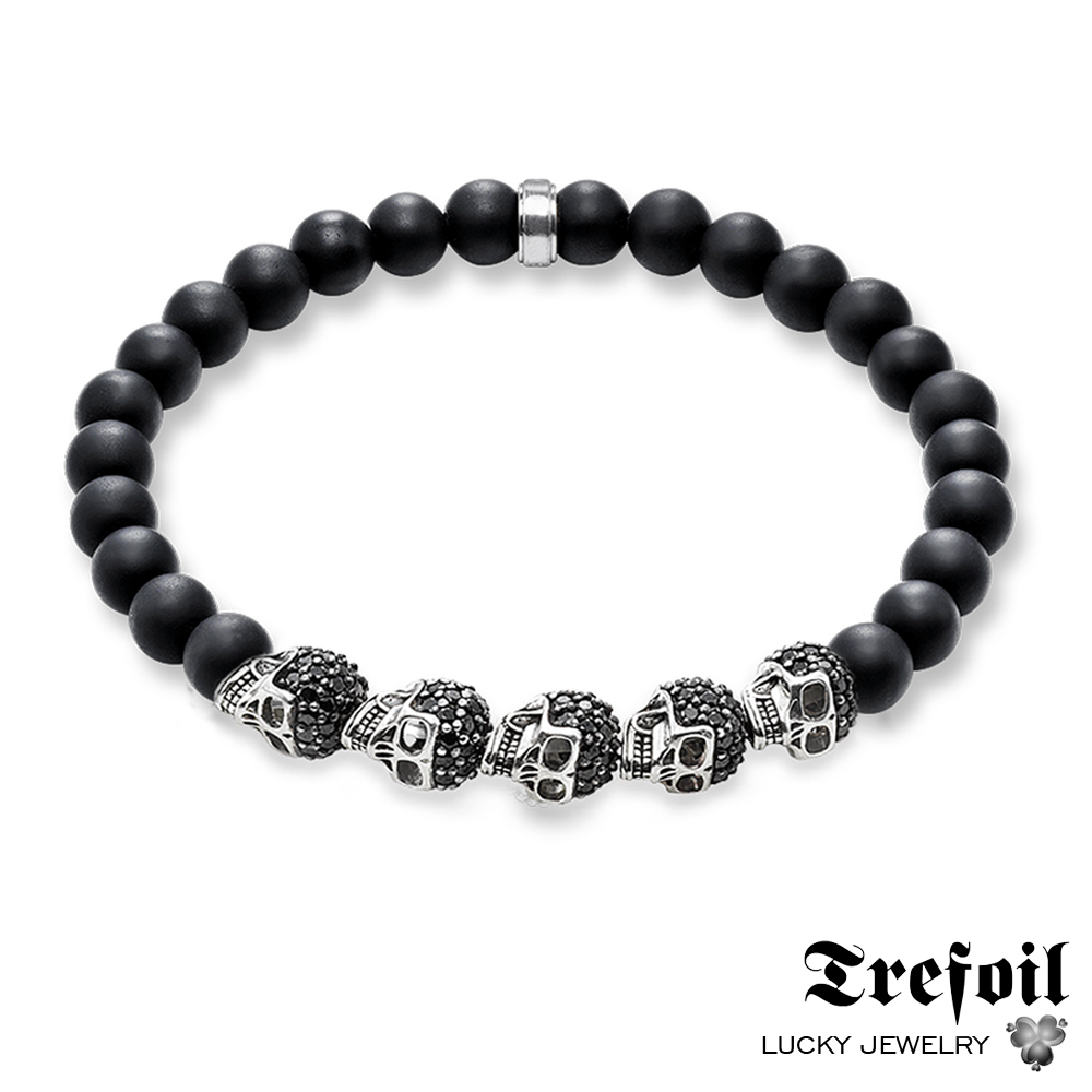 Strand Bracelet Skulls Pave, 2018 New 925 Sterling Silver Fashion Jewelry Vinage Gift for Men Women
