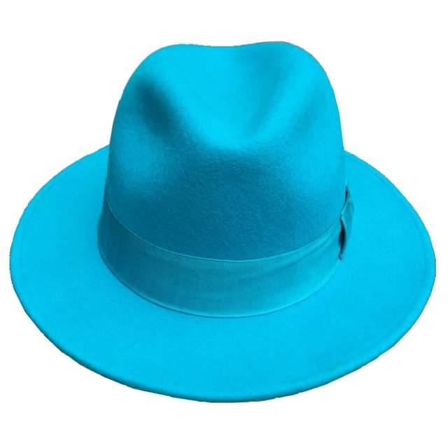 2f0a8d744a8 Online Shop Classic Light Blue Classic Men  s Wool Felt Fur Fedora Hat  Godfather Hat - Design in Italy