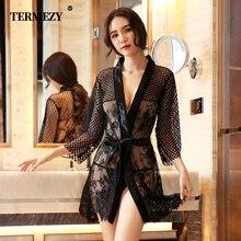 2019 Women Sleepwear robe Sexy Lace Nightdress Nightgown Crochet Black Lingerie Belt Nightwear Sleep Dress Underwear
