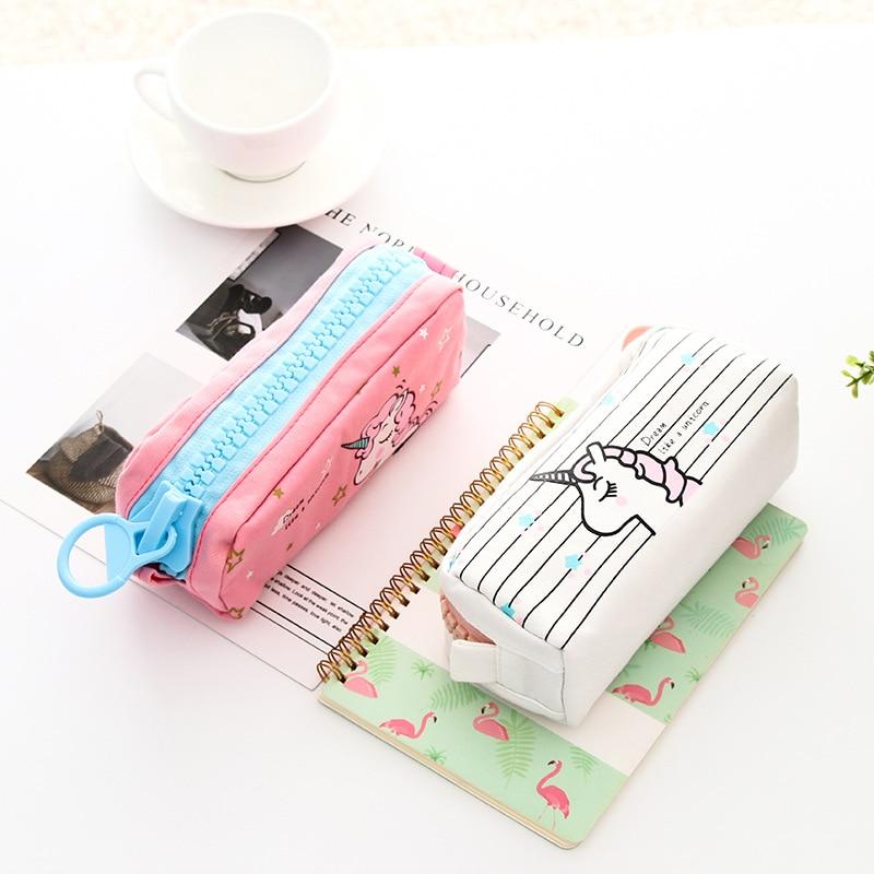 Cute Unicorn Pencil Case Bags Kawaii Fabric Pen Case Etui Big Trousse Scolaire Pencil Box Bts Korean Stationery School Supplies Пенал