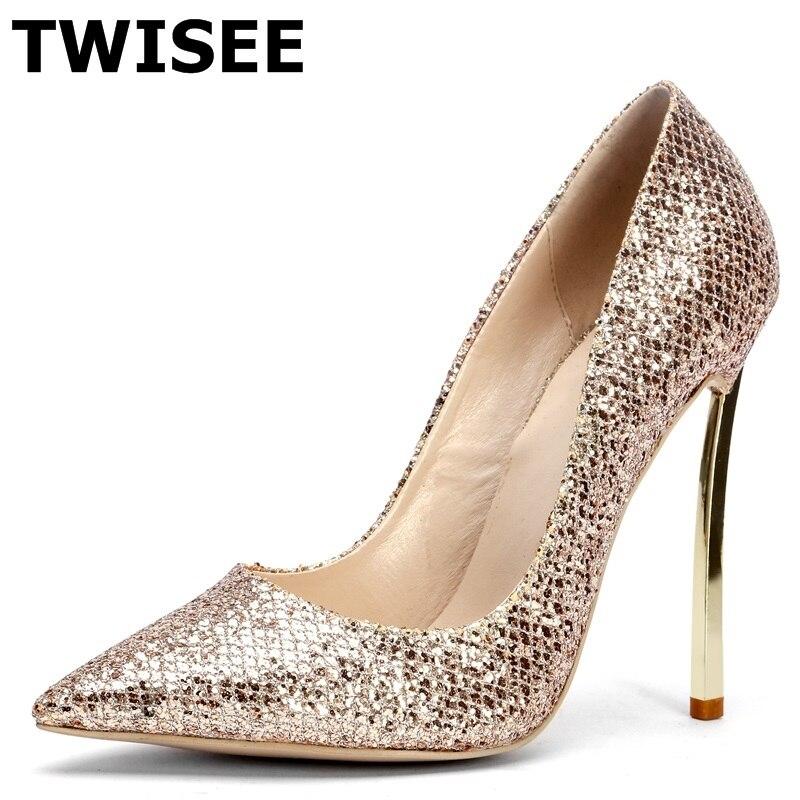 TWISEE sapatos de salto alto Pumps wedding shoes hot selling fashion point toe thin high heels 12 cm bling golden
