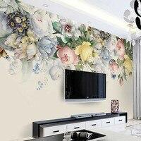 Estilo europa flor papel de parede foto mural murais rolo para sala de estar restaurante rosa floral do vintage arte da parede decoração da parede