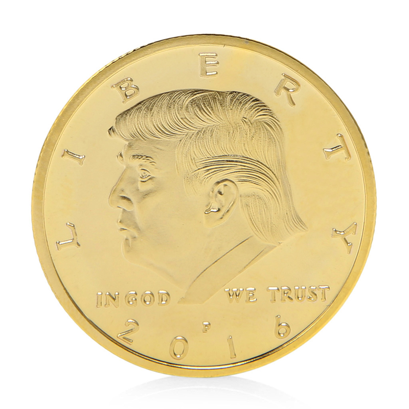 President Donald Trump In God We Trust Gold Plated Commemorative Coin Token Gift