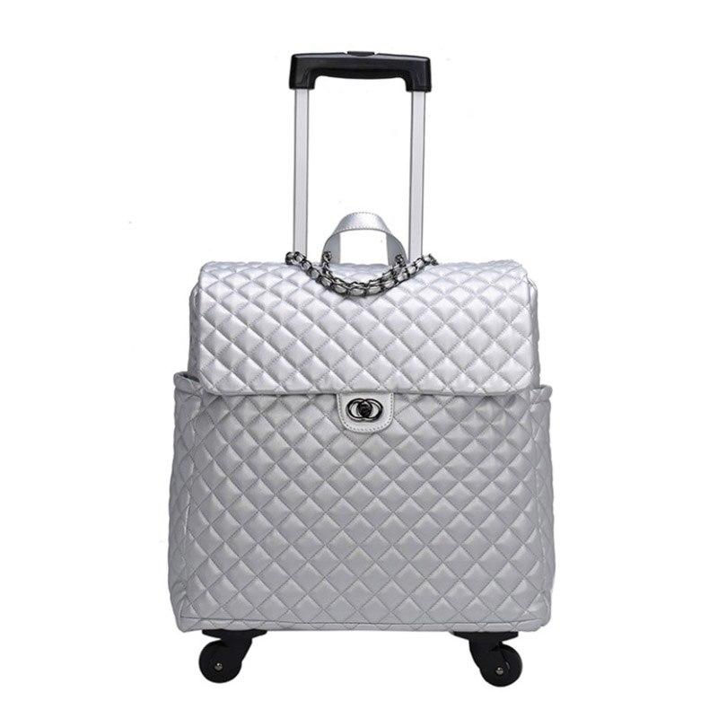 TRAVEL TALE Women carry on luggage kinder trolly cabin leather travel handbag on wheel