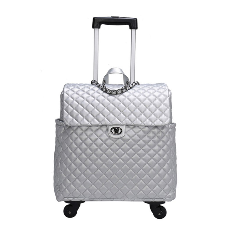 TRAVEL TALE Women carry on luggage kinder trolly cabin leather travel handbag on wheel-in Carry-Ons from Luggage & Bags    1