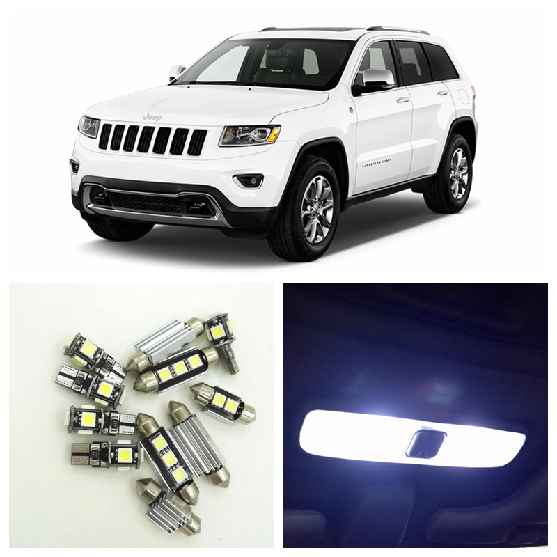 13pcs White Canbus Car LED Light Bulbs Interior Package Kit For 2011-2015 Jeep Grand Cherokee Map Dome Trunk License Plate Lamp 16pcs canbus car white led light bulbs interior package kit for 2011 2012 2013 2014 2015 volvo s60 map dome trunk door lamp