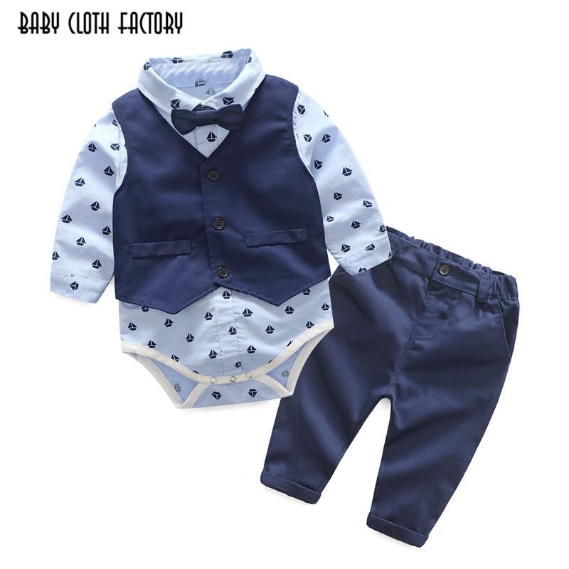 2017 fashion baby boy 3 piece suit vest+tie rompers+pants formal party clothes sets infant boy clothes gentleman suit free ship