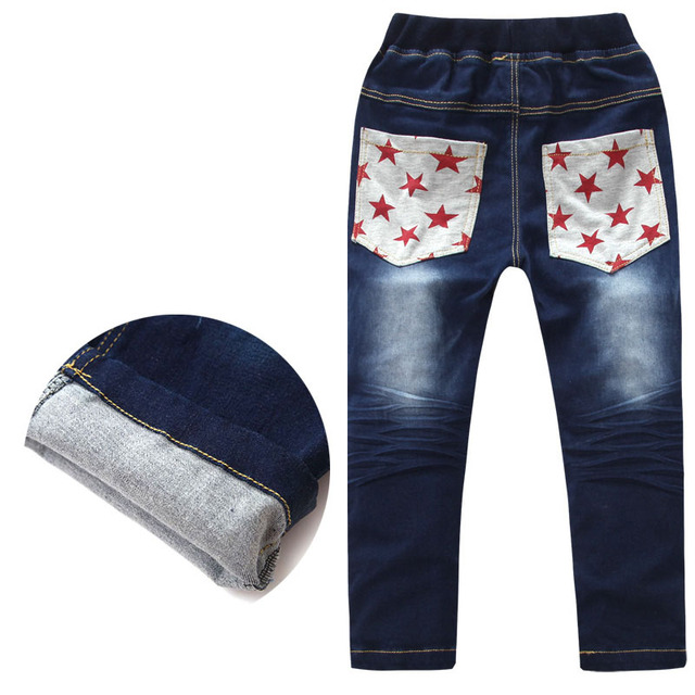 2016 New Fashion Baby Boys Jeans Elastic Waist Straight Jeans Denim Brand Design Pants Boy Jeans For Kids 3-12Y Children's Jeans