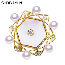 SHDIYAYUN New Big Sale Pearl Brooch For Women Natural Seashell Brooches Pins Freshwater Fine Jewelry High Quality