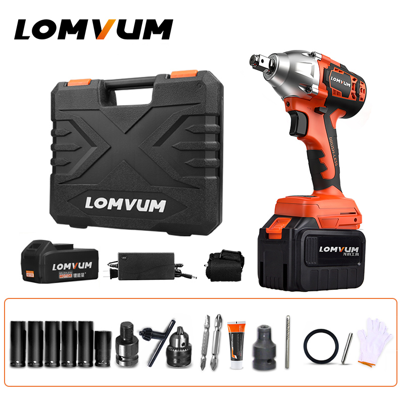 LOMVUM Brushless Electric Wrench Impact 320N.M Wheel Tool Cordless Electrical Wrench Screwdriver Nut Spanners Car Reparing Tools Electric Wrenches     - title=