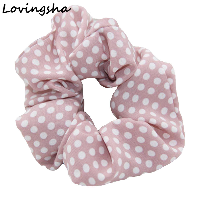 5Pcs/Lot Women Scrunchie Girl Accessories Dot Design Lady Hair Tie Ponytail Hair Holder Rope Fashion Hair Accessories NF002