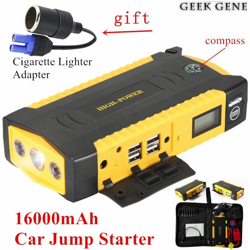 Car Jump <font><b>Starter</b></font> 16000mAh Portable Lighter Power Bank Starting Device 600A Car Charger For Car Battery Petrol Diesel Car <font><b>Starter</b></font>
