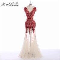 Modabelle Foto Real Rhinestone Sirena Vestidos de Noche de Dubai Glitter Transparente Largo Rojo Vestido de Noche de Tul Vestido De Fiesta de Lujo