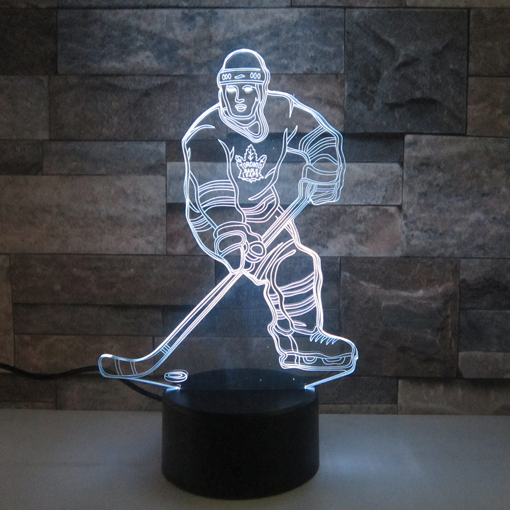 Sensor 3d Night Light LED Remote Touch Switch hockey player Colorful USB Acrylic 3D Lamp Sports Desk lamp Christmas Decoration